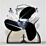 Ventilateur pour poêles, ventilateur de cuisinière, ventilateur de cheminée, noir, 3 pales de rotor, 12,5 cm respectueux de l'environnement - sans électricité, avec poignée de transport