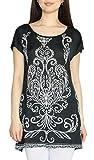 dy_mode Damen Rundhals T-Shirt Longshirt Kurzarm Shirt Damen mit Seitenschlitz Casual Loose Form - TS001-002 (TS002-Schwarz)