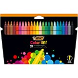 BIC Color Up Feutres de Coloriage à Pointe Fine - Couleurs Assorties, Etui Carton de 24