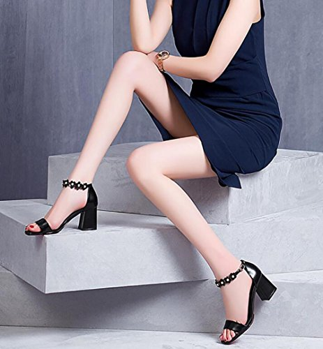 2017 nuovi sandali femminili di cuoio dei sandali di cuoio selvaggio dei sandali high-heeled open-toed del cuoio selvaggio 1