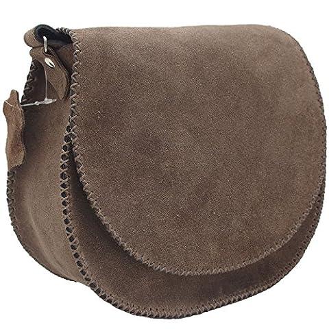 Koson Leather Braune Veloursleder-handgemachte Schultaschen-Schulter-Handtaschen-Kurier-Beutel