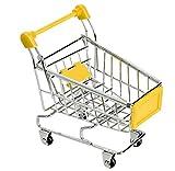 Mini Chariot de Marchandises de supermarché, Un Outil du Rangement avec la Conception de Mini Caddie pour Le Bureau, Aussi Un Jouet Mignon pour l'oiseau ou Les Autres Petits Animaux -- Jaune