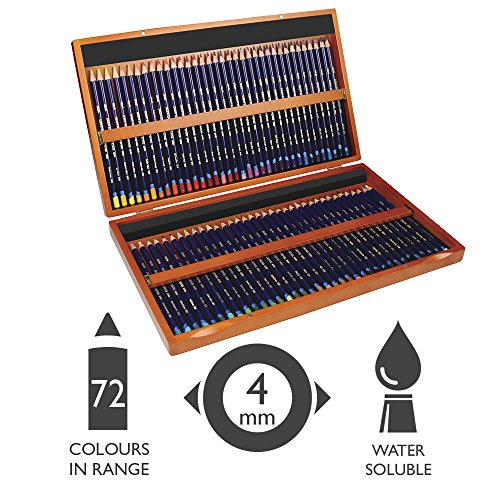 Derwent 2301844 Inktense Permanent Watercolour Pencils, Set of 72 in Wooden Gift Box, Professional Quality, 2301844, Multicolour