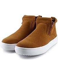 Hannea Casual Solid Color Zipper Design Male High-top Sneakers