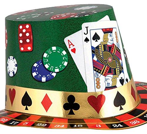 Händler Kostüm Karte - Karnevalsbud - Casino Karten Hut , Mehrfarbig