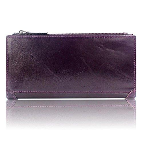 WOCACHI Herren Geldbörsen Männer echtes Leder Mappen Leder-Kredit / ID-Kartenhalter Geldbeutel Reißverschluss Mappe (A-Gelb) Lila