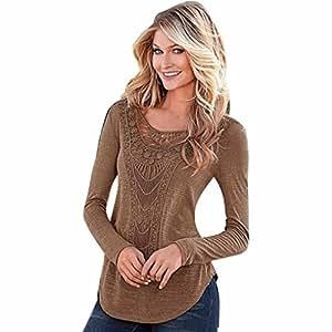 Women's Blouse,Xinantime Casual Long Sleeve Hollow Crochet Loose Blouse Shirt (L, Coffee)