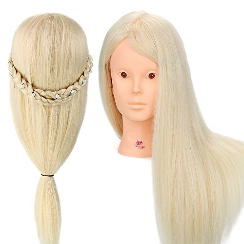 Neverland 70% Vrais Cheveux Têtes d'exercice Coiffure Mannequin #613