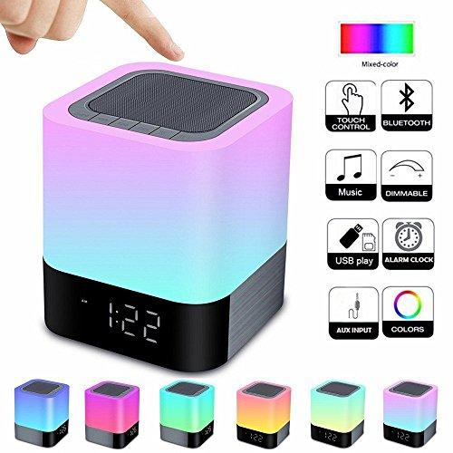 ... Touch Sensor Nachttisch Lampe Warmes Licht Und Farbwechsel Wecker,  MP3 Player, USB, AUX, 4000 MAh Akku, Beste Geschenk Für Kinder, Party,  Schlafzimmer, ...
