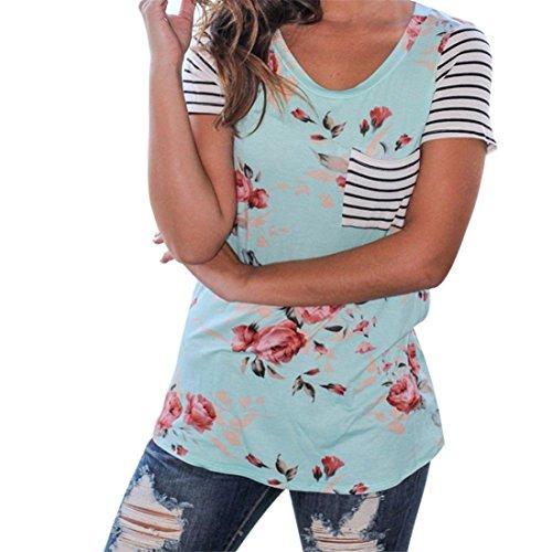 Atdoshop Frau Sommer Streifen Kurzarm Blume bedruckt Bluse Beiläufig Tops T-Shirt (M, Blau) (Stretch-popeline-hemd Bestickte)