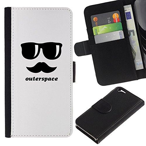 Graphic4You Mustache Schnurrbart Lustig Design Brieftasche Leder Hülle Case Schutzhülle für Apple iPhone 6 / 6S Design #9