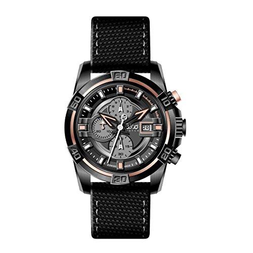 B360WATCH-Bracciale unisex orologio al quarzo, diversi materiali B CLASS ONE Black Large Brown IP