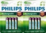 PHILIPS LOT DE 8 PILES RECHARGEABLES...