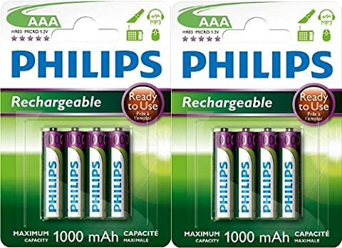 PHILIPS LOT DE 8 PILES RECHARGEABLES AAA HR03 1000mAh PILES