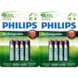 PHILIPS LOT DE 8 PILES RECHARGEABLES AAA HR03 1000mAh PILES