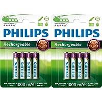 Philips Lot de 8 piles rechargeables HR03 AAA 1,2 V 1000 mAh