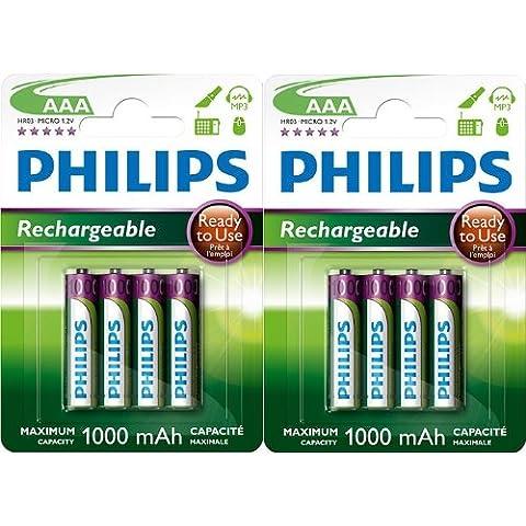 8x Philips batería 1000mAh pilas AAA HR031,2V
