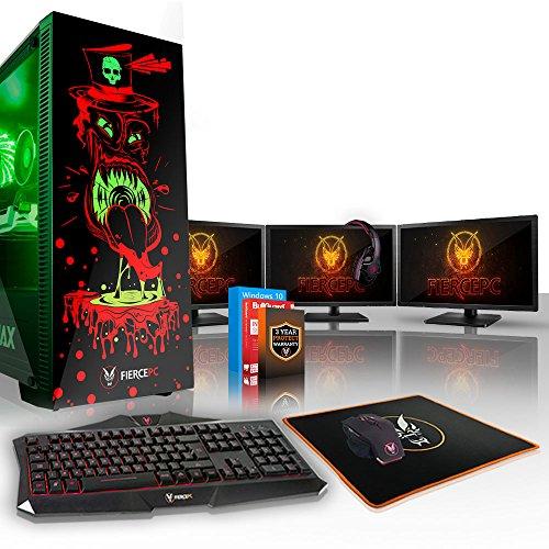 Fierce GOBBLER RGB Gaming PC Bundeln - 3.5GHz Quad-Core Intel Core i5 7400, 120GB SSD, 1TB HDD, 8GB, NVIDIA GeForce RTX 2070 8GB, Win 10, Tastatur (QWERTY), Maus, 3x 21.5-Zoll-Monitore, Headset 831532