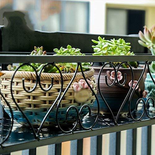 CWJ Blumen-Stand - Schmiedeeisen-Antidiebstahl-Fenster-Leitschiene an der Wand befestigte hängende Topf-Zahnstange mit Haken Balkon-dekorative Regal-Anlage Innen- und Blumen-Topf-Halter im Freien,100 (Innen-blumen-töpfe)