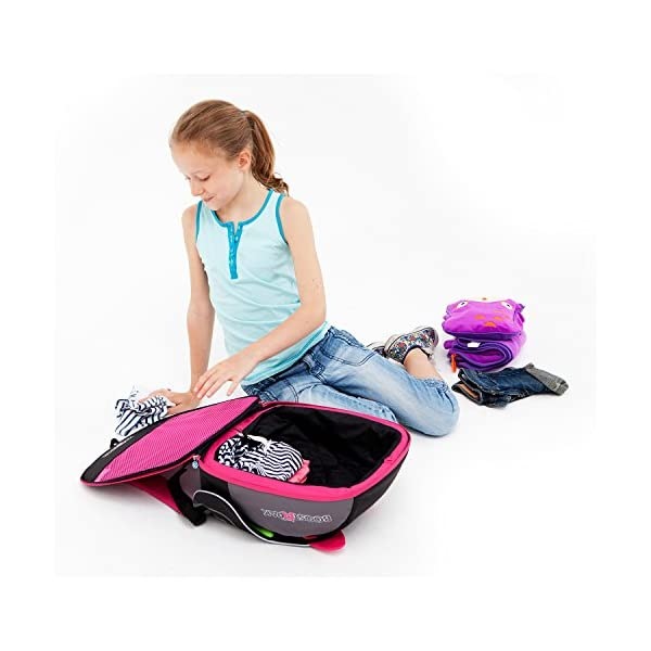Trunki BoostApak - Travel Backpack & Child Car Booster Seat for Group 2-3 (Pink)  QUICKLY TRANSFORMS - Kid's bag to portable booster cushion in seconds (featuring internal hard shell and fold out seatbelt guides) AVOID HIRE CHARGES - On fly drive holidays! Can also be used as dining, cinema or stadium booster to see the action HAND LUGGAGE - 8-litre capacity for packing toys/games/stationary keeping children entertained on the go 4