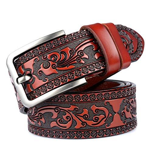 CCHAO Mode Geschnitzter Gürtel Leder Lässig Einzelring Verlängert Dornschließe Für Erwachsene,Redbrown
