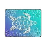 WOCNEMP Sea Turtle Line Art Style Hand Portatile e Pieghevole Coperta Mat 60x78 Pollici Handy Mat per Il Campeggio Picnic Beach Indoor Outdoor Travel