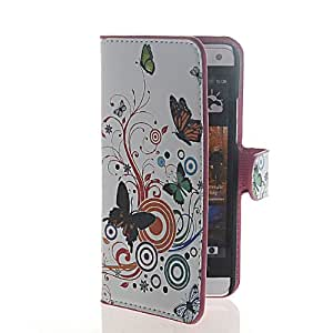 MOONCASE Flower Butterfly Flip Leather Wallet Card Pouch Stand Case Cover For HTC One Mini M4
