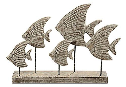 Holz Objekt Fische Fischschwarm braun Mangoholz L50cm