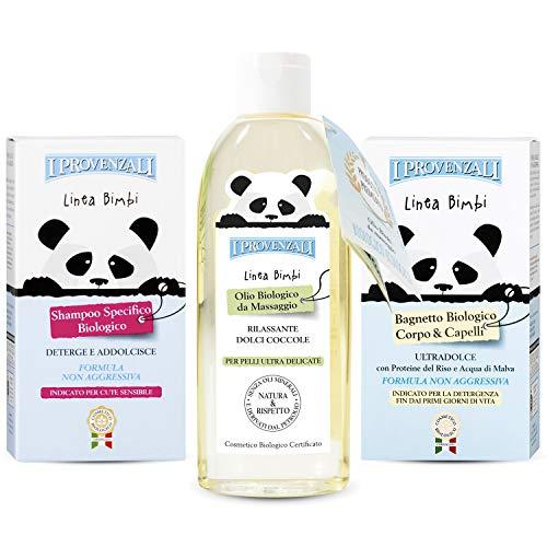Bambini Neonati Care Set Shampoo BIO 250 ml e Sapone Biologico per il Bagno 250 ml e Lolio Biologico da massaggio 150 ML