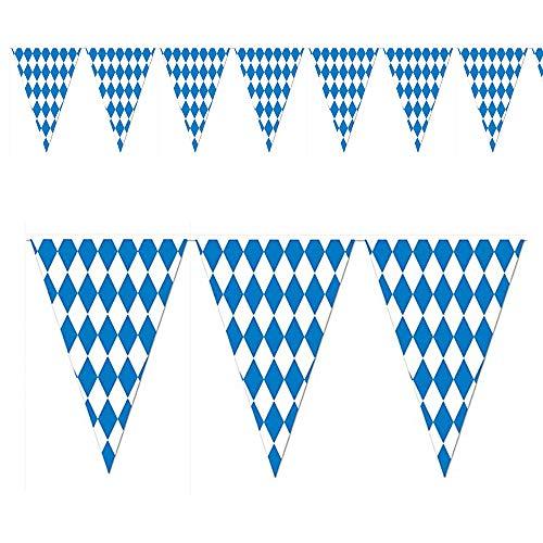 wiselyshop 46 Fuß Oktoberfest bayerischer Check Flag Wimpel Banner deutsches Bier Festival Banner Dekorationen, Bar und Shop Dekorationen, Party hängen Dekorationen