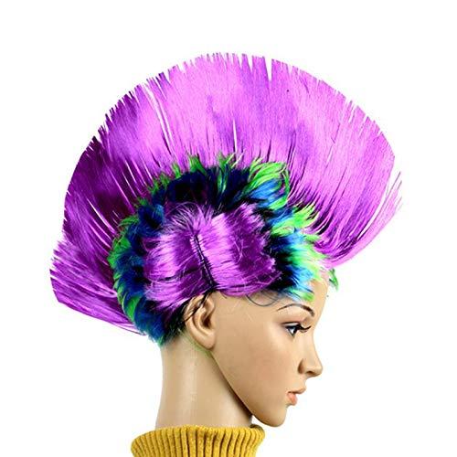erücken 1 Stück lustige Dress Up Perücke Kleid Kopfschmuck Mohawk Hahnenkamm Perücke Straße Punk-Perücke Mohawk Perücke für Partei-Festival-Karneval (Regenbogen Purple) ()