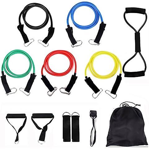Resistenza Band Set di 6Best Home Fitness per allenamento o terapia fisica, con ancoraggio per porta, manico e cinturino Ankel, Borsa