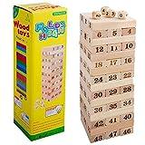 Goolsky 48 Stücke Holz Baustein Set Stapeln Brettspiel Form und Anzahl Anerkennung Pädagogisches Spielzeug für Kinder