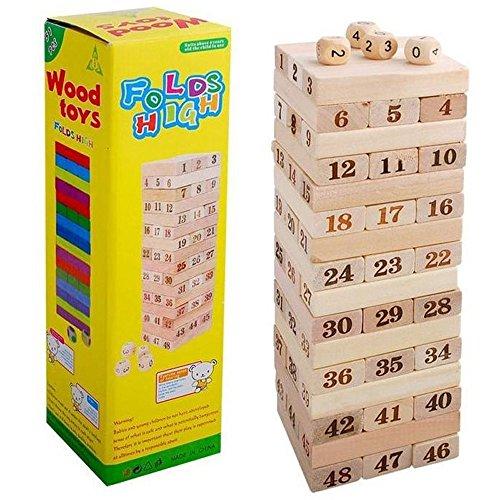 Goolsky 48 Stücke Holz Baustein Set Stapeln Brettspiel Form und Anzahl Anerkennung Pädagogisches Spielzeug für Kinder (Für Kinder Brettspiele Pädagogische)