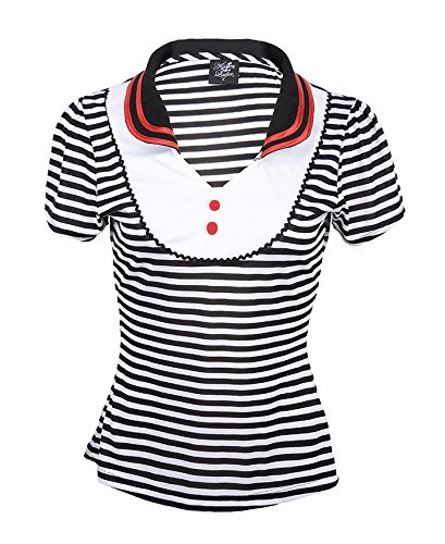 Küstenluder JANICE Sailor Striped 50s RETRO V-Neck SHIRT Rockabilly