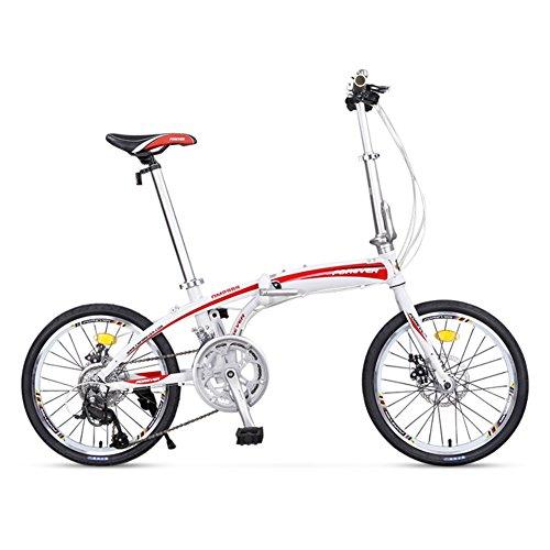 YEARLY Erwachsene klappräder, Klappräder Lightweight Portable Männer und Frauen 16 Geschwindigkeit Faltrad-Weiß 20inch