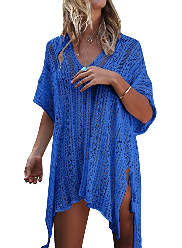 Damen Gestrickte Strandkleid Sommer Strandponcho Strandurlaub Badeanzug Bikini Cover-Ups HAIGOU (One Size, Blau)