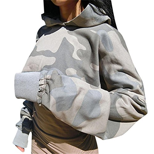 Kanpola Sweatshirt Damen Langarm tarnmuster Kurz Kapuzenpullover Tops (S, Bunt) (Größe Ralph Jeans Lauren Plus)