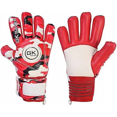 De portero de fútbol de portero GK Saver diseño de camuflaje rojo negativo corte guantes de portero para niños, color Yes Finger Protection/Yes Personalization, tamaño talla 5
