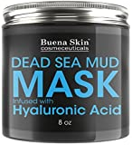 Dead Sea Mud Mask Infused With Hyaluronic Acid, 8oz — Exfoliate, Cleanse And Detoxify Your Skin   Reduces Pores, Breakouts and Wrinkles   Repairs Signs of Aging Naturally by Buena Skin