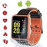 Tagobee TB06 IP68 Wasserdichte Smart Watch HD Touchscreen Fitness Tracker Unterstützung Blutdruck Herzfrequenz Schlafüberwachung Schrittzähler für männer frauen Kompatibel mit Android Samsung Huawei LG smartphones und iphone (orange)