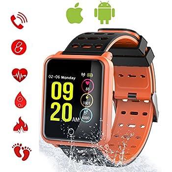 Tagobee TB06 IP68 Reloj Inteligente a Prueba de Agua Monitor de la Aptitud Presión Arterial podómetro Compatible con Android teléfono y iOS(Naranja)