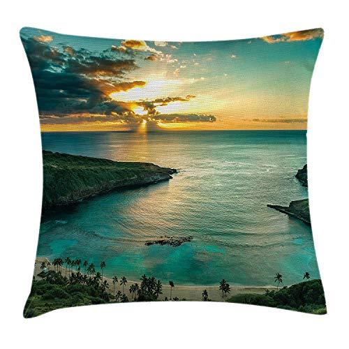Yinorz Hawaiian Throw Pillow Cushion Cover, Sunrise Over Hanauma Bay on Oahu Hawaii Sunbeams Through Dark Clouds Shoreline, Decorative Square Accent Pillow Case, 18 X 18 inches, Blue and Green (Green Bay Transfer)