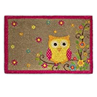 Relaxdays Coconut Fibre Coir Doormat with OWL and Flower Design 40 x 60 cm Welcome Mat with Anti-Slip Rubber PVC Underside, Brown