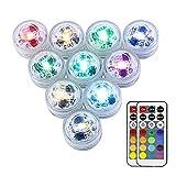 ToomLight Mini 3cm RGB Luci Sommergibili, Multi Colore Luce Subacquea Lampada Con 21 Tasti Telecomando Per Vaso Base Floreale Acquario