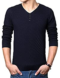 SODIAL(R) Nouveau printemps et automne pull en tricot col en V t-shirt Hommes Vetements decontracte pullover Noir M