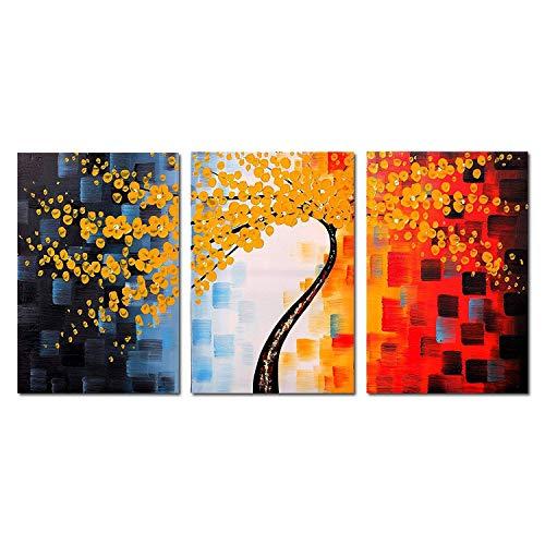 FLY SPRAY Ölgemälde, 3-teilig, gerahmt, 100% Handbemalt, schöne gelbe Blumen, Baum, Messer, Gemälde, Stil abstrakte Leinwand, Dekoration für Zuhause, natürliche Landschaft -