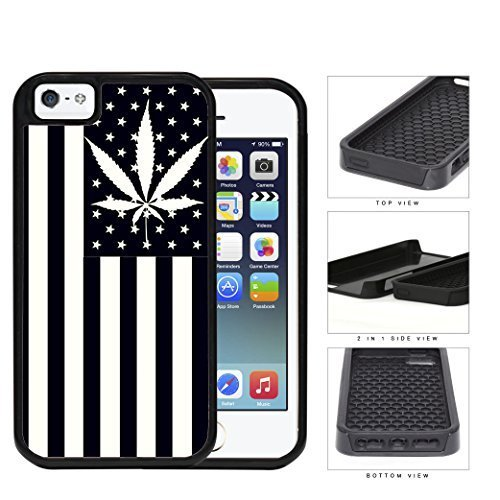 USA American Flag With Weed Plant 2-Piece Dual Layer High Impact Rubber Silicone Cell Phone Case Apple iPhone 5 5s by icecream design