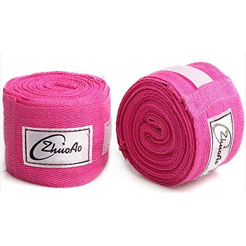 Thai-baumwoll-wrap (Sipaluo Baumwolle 5m Muay Thai Sanda Boxbandage, Sportschweißbandage Hand gewickelt mit Handhandschuhen Sanda, Unisex Adult Boxing Hand Wraps,Pink,5m)