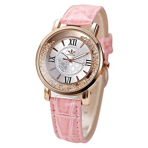 Uhren Dellin Qualität Japanisches QuarzWomen's Herren Kristall Strass Edelstahl Analog Quarz Armbanduhr (Rosa)